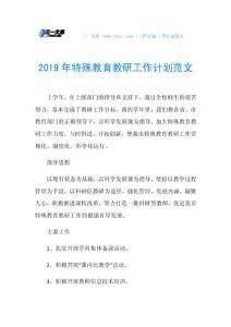 2019年特殊教育教研工作计划范文.doc