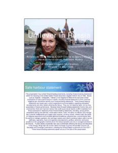 演示文档:联合利华2008年在俄罗斯;Unilever in Russia