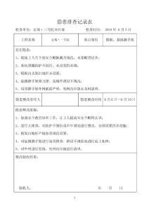 安全隐患排查记录表(日常检查)