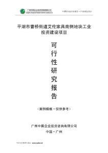 广州中撰-平湖市曹桥街道艾伦家具南侧地块工业可行性报告