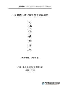 广州中撰-一亩泉顺平酒业公司项目可研报告可行性报告