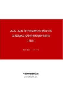 2020年中国盐酸乌拉地尔市场发展战略及投资前景预测咨询报告