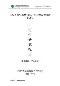 桂阳县皓钰新材料5万吨电解锌可研报告