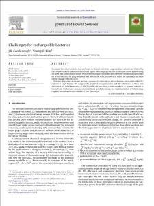 2011 综述 锂离子电池专业文献 J.B. Goodenough 可充电锂离子电池的挑战 Challenges for rechargeable batteries