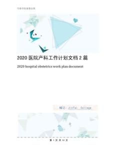 2020医院产科工作计划文档2篇