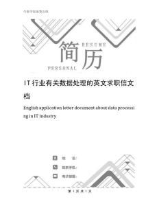 IT行业有关数据处理的英文求职信文档