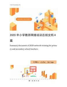 2020中小学教师网络培训总结文档4篇