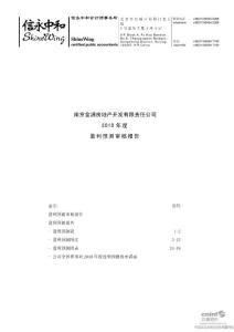 南京金浦房地产开发有限责任公司2010年度盈利预测审核报告 2010-06-05