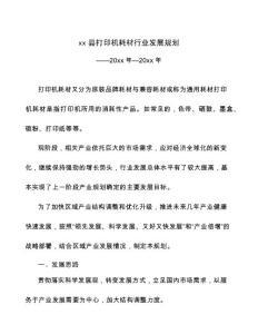xx县打印机耗材行业发展规划