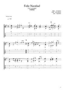 《西班牙圣诞歌曲Feliz_Navidad(金泰万)》指弹吉他谱