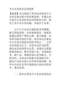 论文范文—中小企业资本运..