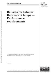 BS-EN-60921-2004 Ballasts for tubular fluorescent lamps- performance requirements