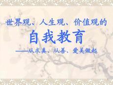 世界观、人生观、价值观的自我教育 -从求真、从善、爱美做起