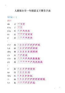 人教版小学一年级语文下册生字笔顺_