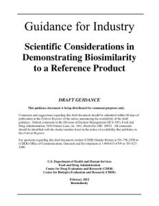 GUIDANCE FOR INDUSTRY SCIENTIFIC CONSIDERATIONS IN DEMONSTRATING BIOSIMILARITY