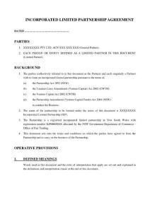Incorporated Limited Partnership Agreement