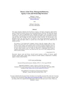 Theory of the Firm:Managerial Behavior  Agency Costs and Ownership Structure