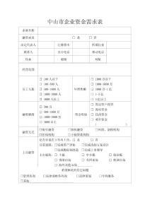中山市企业资金需求表