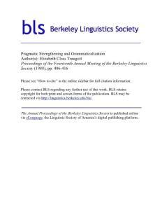 Pragmatic Strengthening and Grammaticalization