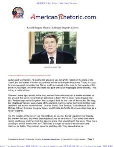 美国20世纪最伟大的100大演讲Ronald Reagan - Shuttle Challenger Address