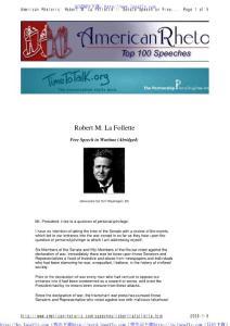 美国20世纪最伟大的100大演讲Robert M. La Follette - Free Speech in Wartime (Abridged)
