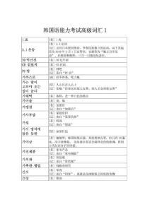 韩国语能力考试高级词汇