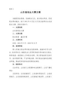 2012山东省创业大赛实施方案