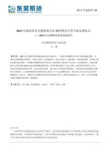 2013年度铜期货投资策略报告
