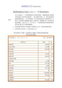 财务报告公告 (无保留意见)