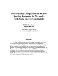 Performance Comparison of Ad-hoc Routing Protocols for Networks with Node Energy Constraints