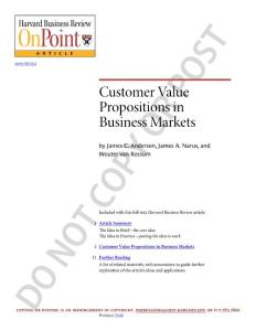 Customer Value Propositions In Business Markets (Harvard Business Review Hbr Onpoint Enhanced Edition)