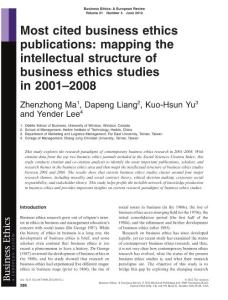 Most cited business ethics publications mapping the被引用最多的商业道德的出版物映射