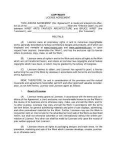 COPYRIGHT LICENSE AGREEMENT THIS LICENSE ...本许可证的版权许可协议...