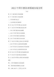 2013中国早教培训领域市场..