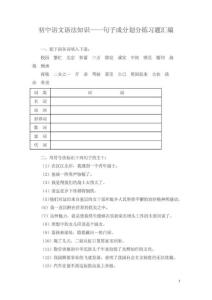 初中语文语法知识——句子成分划分练习题汇编
