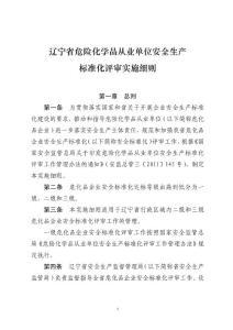 辽宁省危险化学品从业单位安全生产标准化实施细则