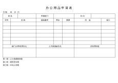 办公用品申请表