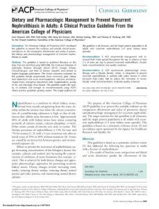 肾结石饮食药物控制相关指南-201411ACP